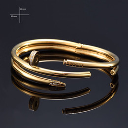 Wholesale Charm Stores - With store 2017 Trendy Screw Nail love Bracelet Gifts For Women 316L stainless Steel Fashion Men Jewelry Cuff Bracelets & Bangle