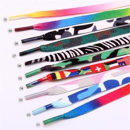 Cadenas de colores online-2018 Collares de Colores Impresiones Niños Niñas Impresión de Cordones Planos Cordones de Zapato sublimado Cordones de Poliéster Cuerdas 120 cm