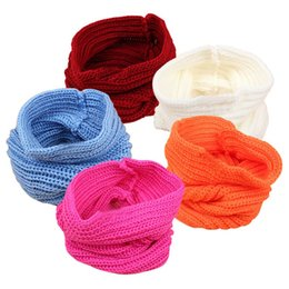 Wholesale Designer Style Rings - 2016 Children's Baby Warm Scarf Boys Girls Knitted O Ring Style Designer Knitting Kids Neck Warmer Neckerchief