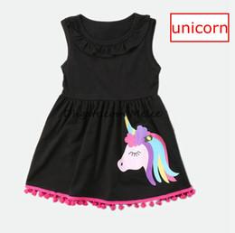 Wholesale Black Lotus Clothing - INS Summer Girls Unicorn print Tassels Dresses kids Cotton Black Lotus leaf Casual Dress Princess dresses party dress Children Clothing 1-7Y