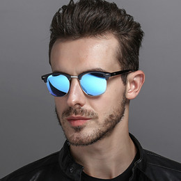 uomini polarizzati occhiali da sole gialli Sconti [EL Malus] Occhiali da sole rotondi polarizzati occhiali da sole uomo maschio grigio giallo argento rosso visione notturna specchio retrovisore retro designer di marca occhiali da sole SG078
