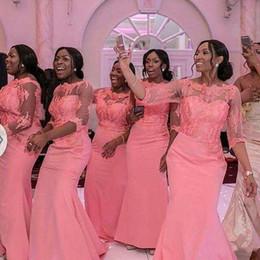África nigeriana sandía 2018 encaje sirena vestidos de dama de honor Sheer Neck 1/2 mangas satinado vestidos de fiesta de boda vestido de dama de honor desde fabricantes