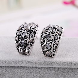 Wholesale United Number - Europe and the United States popular diamond earrings exaggerated fashion earrings gun black retro bohemian earrings