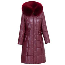 Wholesale Ladies Fur Collared Coats - Women Winter PU Medium Long Jacket Parkas 2017 New Ladies Large Fur Collar Hooded Warm Cotton-padded Coat Female Outerwear 6XL