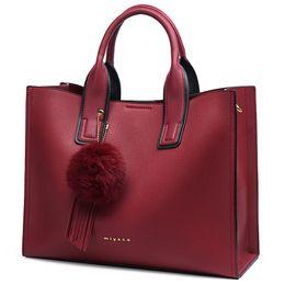 8b7006fae Miyaco Brand Mujer Bolso Totes Bolsas Messenger Bag Bolso de mujer Rojo de  cuero Top mano con borla de bola de piel