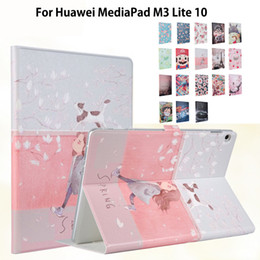 """Desenhos animados de laptops inteligentes on-line-Caso Pintado fino Para Huawei MediaPad M3 Lite 10 BAH-W09 BAH-AL00 10.1 """"Capa Inteligente Funda Tablet PU pele dos desenhos animados das Crianças"""