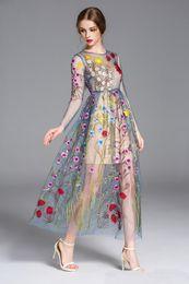 Malla de envoltura de flores online-Nueva envoltura completa bordado colorido flor sol manga larga gasa vestido formal malla maxi vestido boutique gran show pasarela vestido completo