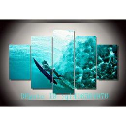 Wholesale Underwater Paint - Surfing Underwater,5 Pieces Canvas Prints Wall Art Oil Painting Home Decor  (Unframed Framed)