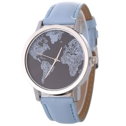 Wholesale Map Cool - Amazon new male and female lovers watch world map cool student trend quartz wrist watch spot wholesale