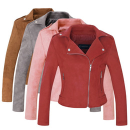 Wholesale Biker Jacket Faux Leather - Wholesale- 2018 New Arrial Women Autumn Winter Suede Faux Leather Jackets Lady Fashion Matte Motorcycle Coat Biker Gray Pink Red Outwear