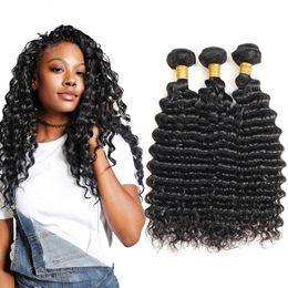 Wholesale cheap braiding human hair - Brazilian Virgin Hair 3Pcs Lot Deep Wave Bundles Good Quality Unprocessed 7a Virgin Human Hair Bundles Cheap Human Braiding Hair Extensions