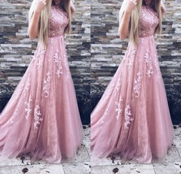 Wholesale Gold Belted Evening Gowns - 2018 Long Prom Dresses A Line Appliques Lace Sleeveless With Belt Formal Evening Gowns Prom Dress Party Gowns