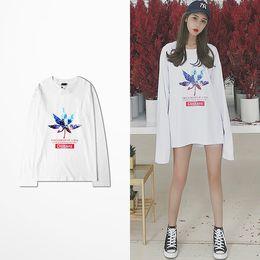 Wholesale White Leaf Applique - New Fashion O Neck 100% Cotton T Shirt Long Sleeve Men Hip Hop Skateboard Maple Leaf Print Harajuku T-shirt Male 2018