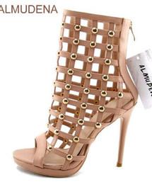 Canada Femmes sexy cage moyen bottes peep toe découpé moto sandales bottes mi-mollet or clouté sandales à talons aiguilles bottes supplier gold mid heels Offre