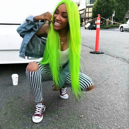 long straight wigs part middle Promo Codes - Hot Cosplay Neon Green Long Silky Straight Synthetic Lace Front Wigs Middle Part 26inch Real Picture Fiber Hair Glueless Heat Resistant Wigs