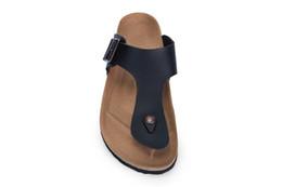 4a476940505aeb Men and Women Slide Sandal Buckle Slip On Slippers Comfort Cork Footbed  Women s Gizeh Cork Thong Ankle Buckle leather black Sandal