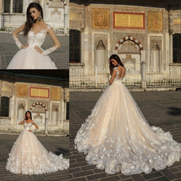 Wholesale Ball 3d Model - 2018 Gorgeous Designer Champagne Wedding Dresses with White 3D Flowers Illusion Sheer Long Sleeves Court Train Arabic Bridal Gowns