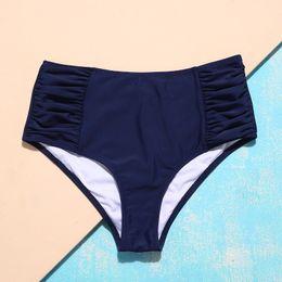 2019 swimwear blu profondo suittop 2018 Due pezzi separa Swim Short Plants Mid-waist Swim Trunks Deep Blue Bikini Bottoms Swimwear Women Beach Wear sconti swimwear blu profondo