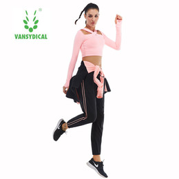 Wholesale Women S Stretch Pant Suits - Fitness wear long sleeved suit trousers movement speed dry running training base vest fitness clothes stretch pants four piece