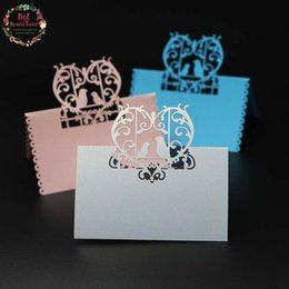 Wholesale love birds laser cut - Big Heard Love 40pcs Love Birds Laser Cut Party Table Name Place Cards Wedding Cards Table Decoration Mariage Favors And Gifts