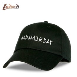 "Wholesale Bad Snapback - Personality Customized Baseball Caps ""BAD HAIR DAY"" Black Snapback Caps Men Dad Hats casquette de marque usa"