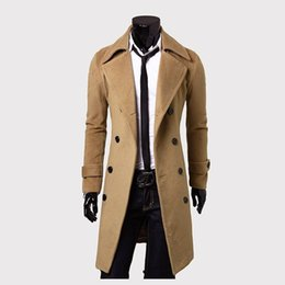 Wholesale Double Breasted Woolen Coat - fashion woolen double-breasted long trench coat men's wool blends warm winter
