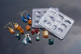 Moldes ovais on-line-Diy ferramenta de síntese de silicone molde de silicone rodada oval quadrado pingente de brinco molde artesanal artesanato decoração resina epóxi molde