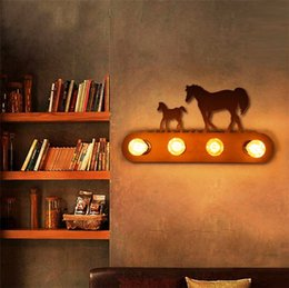 Wholesale Horse Wall Lights - Modern Metal wall lamps creative Horse sconces Industrial retro light fixture for hallway living room Bedroom antique art Iron 4 E27 Base
