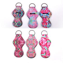 Бесплатная доставка DHL Lilly Floral Neoprene Chapstick Holder Rose Keychain Chapstick Wrap Coral Lipstick Обложка Ключи для ключей (Random Color Send) H352Q от