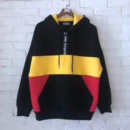наполовину стоять Скидка 2019SS новый лучшее качество Palm Angels средняя половина молния черный желтый красный сращивания мужчины пуловер Толстовки хип-хоп мода кофты