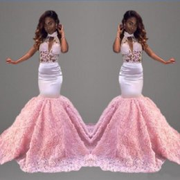 Wholesale Vintage Style Green Dress - 2017 Sexy elegant long length prom dresses white satin pink lace evening gowns Arabic style sleeveless for prom dress mermaid