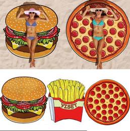 Couverture de fraise en Ligne-11 Designs Serviette De Plage Ronde Pizza Hamburger Crâne Crème Glacée Fraise Smiley Emoji Ananas Pastèque Douche Couverture Wn062