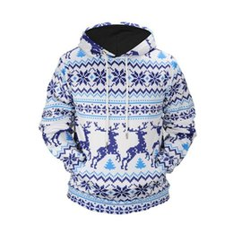 reindeer pattern Promo Codes - 2018 New Christmas Men's Sweatshirt Hoodie Print Reindeer Pattern Pullover Loose Full Sleeve Outwear Clothing Male Autumn