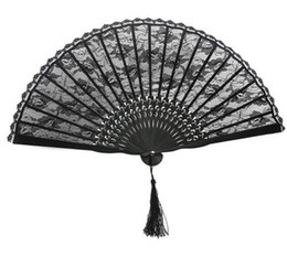 Wholesale japanese fans for weddings - Spanish Victorian Hand Fan for Wedding Party Favor Fancy Dress Black Japanese Folding Pocket Fan