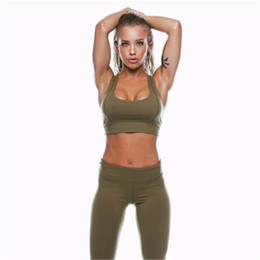 El envío libre al por mayor de las mujeres se divierte los trajes de la yoga del desgaste sólido de la aptitud del tanque de la ropa de sport establece los pantalones largos atuendo el equipo desde fabricantes