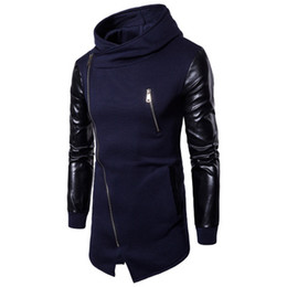 Wholesale Men Leather Sweatshirts - Eur US Size Men Longlines Sweatshirt Pactchwork Leather Sleeves With Zipper Cardigan Unregular Hooded Top Clothing M-2XL