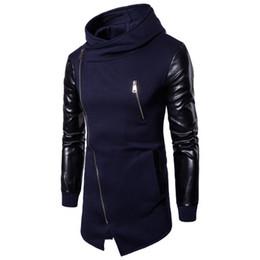 Wholesale Leather Sweatshirt Men - Eur US Size Men Longlines Sweatshirt Pactchwork Leather Sleeves With Zipper Cardigan Unregular Hooded Top Clothing M-2XL