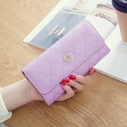 crown packaging Promo Codes - 2018 new women's wallet long section three fold crown ticket holder ladies clutch bag wallet card package