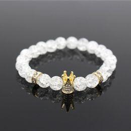 bracelet en agate blanche en argent Promotion Micro Pave Blanc CZ Or Couleur Roi Couronne Bracelet À Cadeaux Hommes Dull Polonais Blanc Popcorn Pierre Perle Bracelet Bijoux Pour Femmes