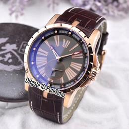 2019 relógio grande homem branco Nova Excalibur Calibre automático RDDBEX0566 Rose Gold Cinza Dial Grande Roma Marca Auto Men Watch Relógios Desportivos de Couro Marrom Branco Linha RD39b2 desconto relógio grande homem branco