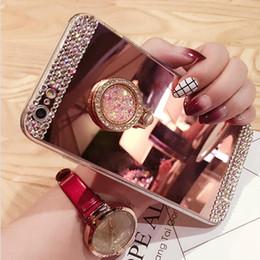 2019 iphone ring ring Miroir acrylique de luxe couverture arrière pour iphoneX 8 coque de cas pour Samsung S8 plus S7 avec support de bague 2018 nouvelle livraison gratuite iphone ring ring pas cher