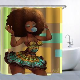 Rideau de douche en tissu noir en Ligne-Rideau de douche noir africain traditionnel de femmes, rideaux en tissu de polyester résistant à la moisissure imperméable à l'eau de 70x70 avec le crochet 12pc