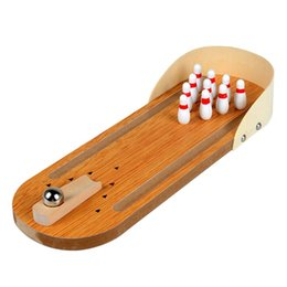 Wholesale Bowling Ball Toy - Mini Entertainment Desktop Bowling Game Set Wooden Bowling Alley Ten Metal Pin Ball Desk Children Wooden bowling desktop toys