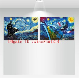 Wholesale vincent van gogh abstract - Batman Starry Night Vincent Van Gogh,2 Pieces Home Decor HD Printed Modern Art Painting on Canvas (Unframed Framed)