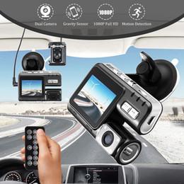 Cámaras de coche de control remoto online-Full HD 1080P Lente dual Control remoto Coche DVR Cámara Coche Grabador de video Dash Cam Visión nocturna 140Ver Videocámara i1000 Con CAJA al por menor