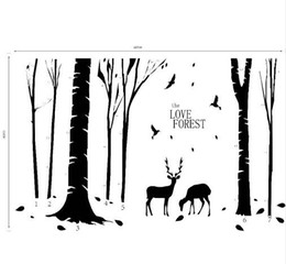 Wholesale Tree Life Wall Sticker - Free shipping Home Decoration Vinyl Deers in Forest Wall Sticker Removable Cheap PVC House Decor Trees and Animal Murals Poster