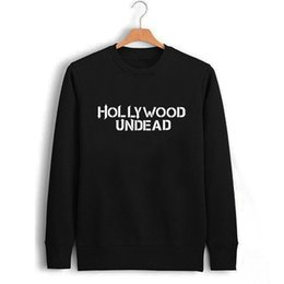 Wholesale white letter transfers - Male Black Hollywood Undead Letter Print Sweatshirt Men Fall Winter Clothing Male Pullover Print Sweat Boys Transfer Printing