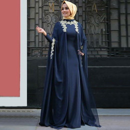Wholesale High Fashion Hijab - Generous Long Sleeves Arabic Muslim Evening Dresses Applique Zipper Back Abaya Vestidos Moroccan Kaftan Formal Party Gowns with Hijab