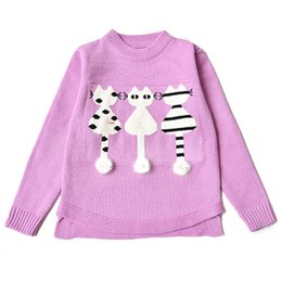 2018 осень зима мода девушки дети школа вязание свитер вышивка мультфильм Котенок свитер для малышей детская одежда от