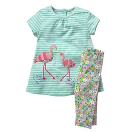 Wholesale kids spring outfit - Girl Cotton Clothes Sets Flamingos Animals Appliques Clothing Sets Casual Kids Play Sets Two-Piece Dress+Leggings Kids Outfits